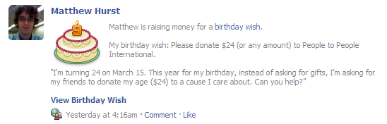 Facebook Birthday Wish