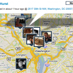 Map of my friend's check-ins on Brightkite in DC