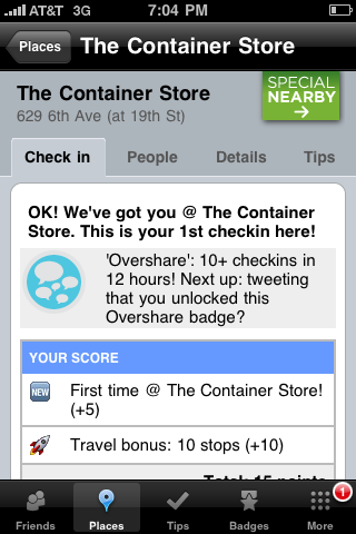 Oversharing badge on Foursquare