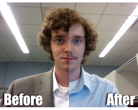 Before and after for Matthew Hurst's Movember mustache in November 2010